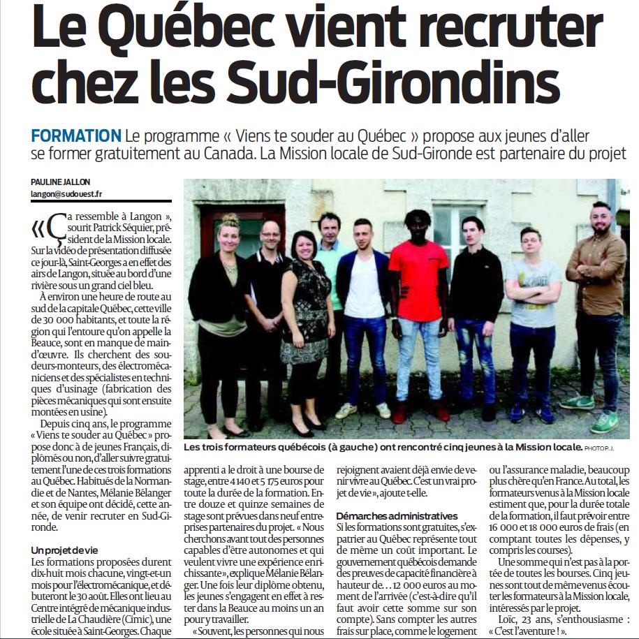 Article Sud-Ouest le Québec à Langon