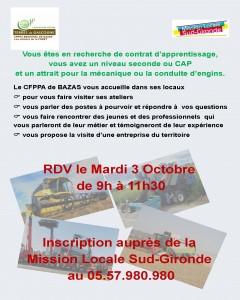 Affiche A3 Action CFPPA BAZAS 3 octobre 2017